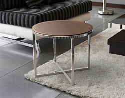 SIDE TABLE TALIA SEPIA TINTED ACID ETCHED POLISHED STAINLESS STEEL Ø55x45 CM (ET023PA)