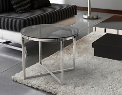 SIDE TABLE TALIA TINTED GREY POLISHED STAINLESS STEEL Ø56x45 CM (ET023G)