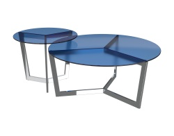 SIDE TABLE TAMARA BLUE TINTED POLISHED STAINLESS STEEL Ø56x45 CM (ET033B)