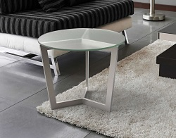 SIDE TABLE TAMARA SAND BLASTED BRUSHED STAINLESS STEEL Ø55x45 CM (ET043S)