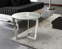 SIDE TABLE TAMARA SAND BLASTED POLISHED STAINLESS STEEL Ø56x45 CM (ET033S)
