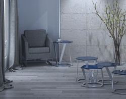 SIDE TABLE TWIST BLUE TINTED ACID ETCHED BRUSHED STAINLESS STEEL 48x48x56 CM (ET041BA)