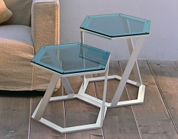 SIDE TABLE TWIST BLUE TINTED BRUSHED STAINLESS STEEL 48x48x45,8 CM (ET038B)