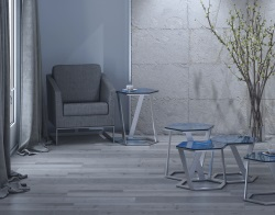 SIDE TABLE TWIST BLUE TINTED BRUSHED STAINLESS STEEL 48x48x56 CM (ET041B)
