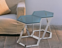 SIDE TABLE TWIST BLUE TINTED POLISHED STAINLESS STEEL 48x48x45,8 CM (ET035B)