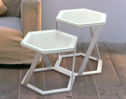 SIDE TABLE TWIST CRYSTAL ACID ETCHED BRUSHED STAINLESS STEEL 48x48x45,8 CM (ET038RA)