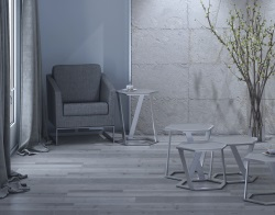 SIDE TABLE TWIST CRYSTAL ACID ETCHED BRUSHED STAINLESS STEEL 48x48x56 CM (ET041RA)