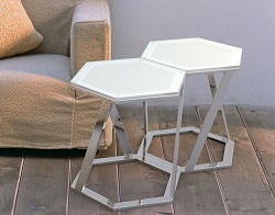 SIDE TABLE TWIST CRYSTAL ACID ETCHED POLISHED STAINLESS STEEL 48x48x45,8 CM (ET035RA)