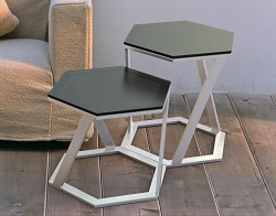 SIDE TABLE TWIST GREY TINTED ACID ETCHED BRUSHED STAINLESS STEEL 48x48x45,8 CM (ET038GA)