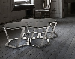 SIDE TABLE TWIST GREY TINTED ACID ETCHED POLISHED STAINLESS STEEL 48x48x35,8 CM (ET034GA)