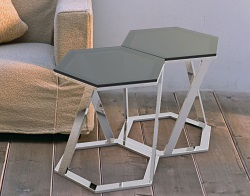 SIDE TABLE TWIST GREY TINTED ACID ETCHED POLISHED STAINLESS STEEL 48x48x45,8 CM (ET035GA)