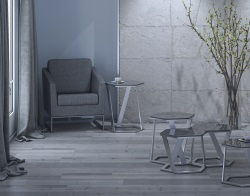 SIDE TABLE TWIST LACQUERED GREY BRUSHED STAINLESS STEEL 48x48x56 CM (ET041LG)