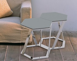 SIDE TABLE TWIST LACQUERED GREY POLISHED STAINLESS STEEL 48x48x45,8 CM (ET035LG)