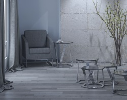 SIDE TABLE TWIST LACQUERED GREY POLISHED STAINLESS STEEL 48x48x56 CM (ET040LG)