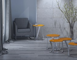 SIDE TABLE TWIST LACQUERED ORANGE BRUSHED STAINLESS STEEL 48x48x56 CM (ET041LO)