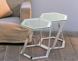 SIDE TABLE TWIST SAND BLASTED POLISHED STAINLESS STEEL 48x48x45,8 CM (ET035S)