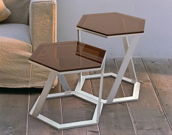 SIDE TABLE TWIST SEPIA BRUSHED STAINLESS STEEL 48x48x45,8 CM (ET038P)