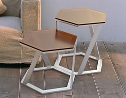 SIDE TABLE TWIST SEPIA TINTED ACID ETCHED BRUSHED STAINLESS STEEL 48x48x45,8 CM (ET038PA)
