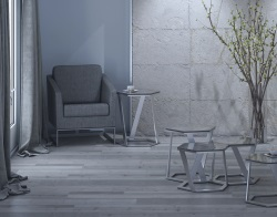 SIDE TABLE TWIST TINTED GREY BRUSHED STAINLESS STEEL 48x48x56 CM (ET041G)