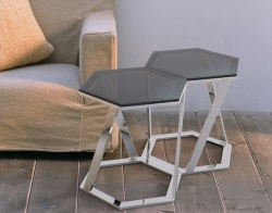 SIDE TABLE TWIST TINTED GREY POLISHED STAINLESS STEEL 48x48x45,8 CM (ET035G)