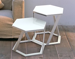 SIDE TABLE TWIST WHITE LACQUERED BRUSHED STAINLESS STEEL 48x48x45,8 CM (ET038LW)