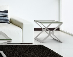 SIDE TABLE XENA CLEAR BRUSHED STAINLESS STEEL 50x50x48 CM (ET031C)