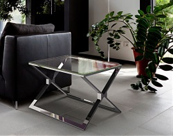 SIDE TABLE XENA CLEAR POLISHED STAINLESS STEEL 65X65X48 CM (ET025C)