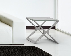 SIDE TABLE XENA CRYSTAL ACID ETCHED BRUSHED STAINLESS STEEL 50x50x48 CM (ET031RA)