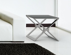 SIDE TABLE XENA GREY ACID ETCHED BRUSHED STAINLESS STEEL 50x50x48 CM (ET031LGA)