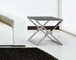 SIDE TABLE XENA GREY ACID ETCHED POLISHED STAINLESS STEEL 50x50x48 CM (ET030LGA)