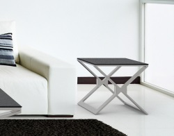 SIDE TABLE XENA GREY CERAMICS BRUSHED STAINLESS STEEL 50x50x48 CM (ET031CG)