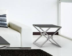 SIDE TABLE XENA GREY CERAMICS POLISHED STAINLESS STEEL 50x50x48 CM (ET030CG)