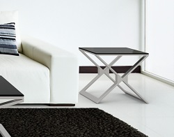 SIDE TABLE XENA LACQUERED BLACK BRUSHED STAINLESS STEEL 50x50x48 CM (ET031LB)