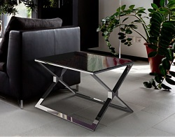 SIDE TABLE XENA LACQUERED BLACK POLISHED STAINLESS STEEL 65X65X48 CM (ET025LB)