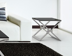 SIDE TABLE XENA LACQUERED BLACK POLISHED STAINLESS STEEL 50x50x48 CM (ET030LB)