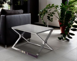 SIDE TABLE XENA LACQUERED GREY POLISHED STAINLESS STEEL 65X65X48 CM (ET025LG)