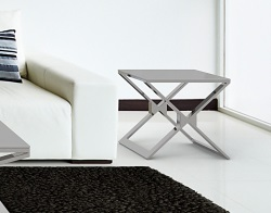 SIDE TABLE XENA LACQUERED GREY POLISHED STAINLESS STEEL 50x50x48 CM (ET030LG)