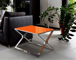 SIDE TABLE XENA LACQUERED ORANGE POLISHED STAINLESS STEEL 65X65X48 CM (ET025LO)