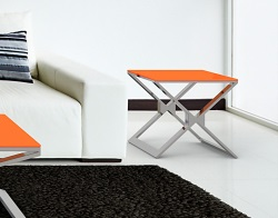 SIDE TABLE XENA LACQUERED ORANGE POLISHED STAINLESS STEEL 50x50x48 CM (ET030LO)