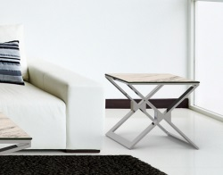 SIDE TABLE XENA MARBLE CERAMICS POLISHED STAINLESS STEEL 50x50x48 CM (ET030CM)
