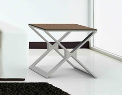 SIDE TABLE XENA SANDSTONE BROWN BRUSHED STAINLESS STEEL 50x50x48 CM (ET031GB)