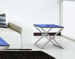 SIDE TABLE XENA TINTED GREY BRUSHED STAINLESS STEEL 50x50x48 CM (ET031B)