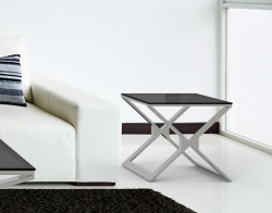 SIDE TABLE XENA TINTED GREY BRUSHED STAINLESS STEEL 50x50x48 CM (ET031G)