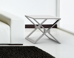 SIDE TABLE XENA WHITE ACID ETCHED BRUSHED STAINLESS STEEL 50x50x48 CM (ET031LWA)