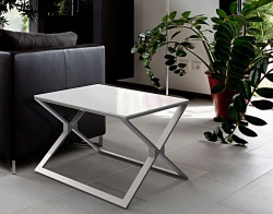 SIDE TABLE XENA WHITE LACQUERED BRUSHED STAINLESS STEEL 65x65x48 CM (ET029LW)