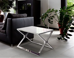 SIDE TABLE XENA WHITE LACQUERED POLISHED STAINLESS STEEL 65X65X48 CM (ET025LW)
