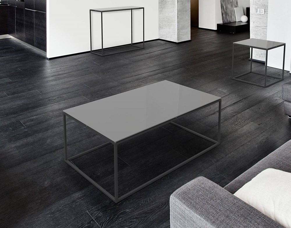 table basse julia laqu gris acier peinture noire epoxy 110x65x40 cm ct180lg. Black Bedroom Furniture Sets. Home Design Ideas