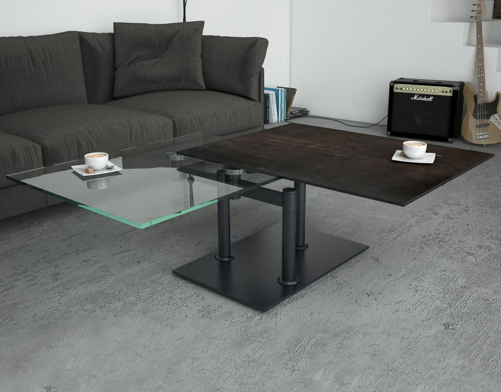 table basse opera c ramique acier acier laqu 150 90. Black Bedroom Furniture Sets. Home Design Ideas