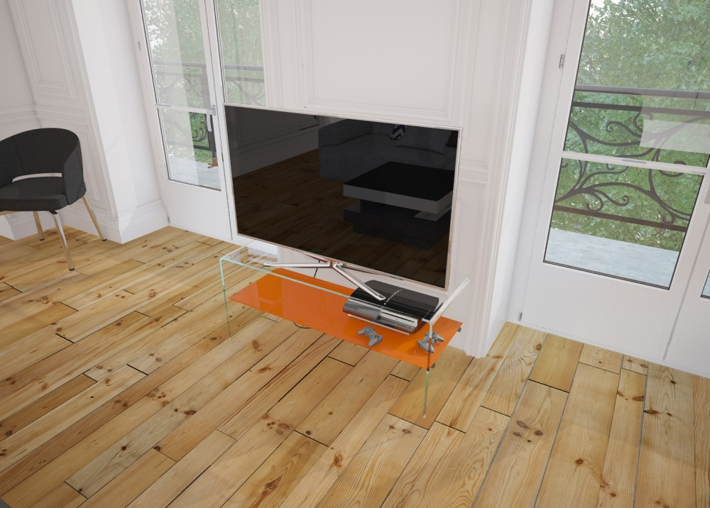 Design Tv Meubel Glas.Tv Meubel Atena Oranje Gelakt Gebogen Glas 103 X 40 X 45 Cm Tv004lo