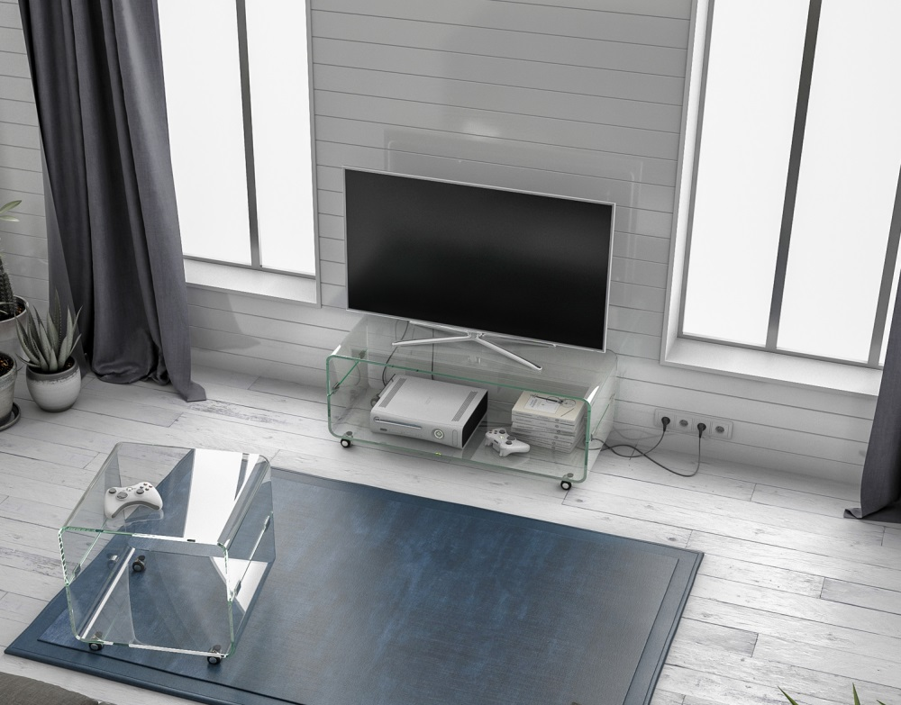 Design Tv Meubel Glas.Tv Meubel Mika Extra Helder Gebogen Glas 104x40x42 Cm Tv075